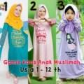 Terlaris Baju Anak Muslimah Dress Panjang - Gamis Kaos Islami - Adem