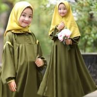 [Syari Odelia Kids Army SW] Baju muslim anak perempuan wollycrepe army