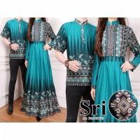 Baju Batik Couple Set Muslim Gamis Pasangan Setelan Muslimah Resmi