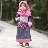 Ivana Denim 3-4 Th| Baju Gamis Balita | Dress Muslim Anak Motif Brokat