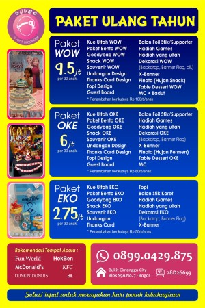 Harga Paket Kfc Ulang Tahun : harga, paket, ulang, tahun, Paket, Ulang, Tahun, Bogor, Eve'O, Tokopedia