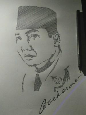 Gambar Soekarno Hitam Putih : gambar, soekarno, hitam, putih, Sketsa, Wajah, (Soekarno), /linesketch, Bekasi, Sketch, Order, Tokopedia