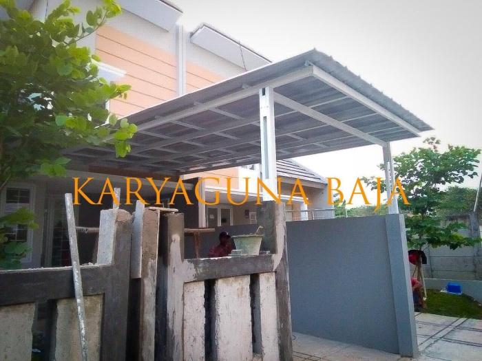 kanopi baja ringan di cat jual atap spandek rangka putih modernhill