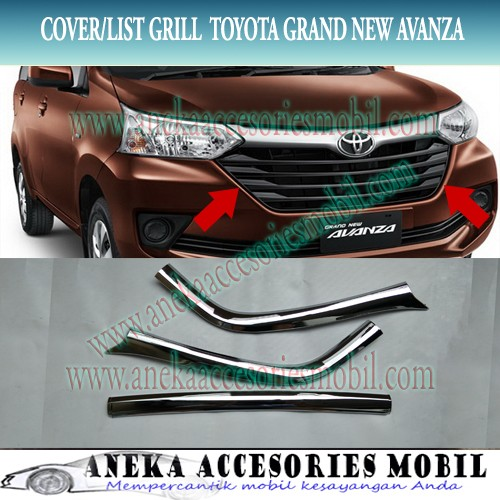 list grand new avanza harga tahun 2016 jual cover garnish grill bumper depan mobil toyota