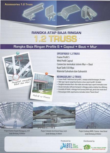 spesifikasi baja ringan untuk atap jual rangka 1 2 truss profil s connector mur dan baut
