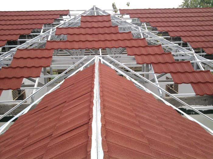 harga ganti atap baja ringan jual paket pemasangan rangka c75 075 genteng