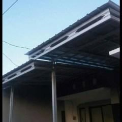 Kanopi Baja Ringan Model Gantung Jual Atap Zingcalume Minimalis Tihang