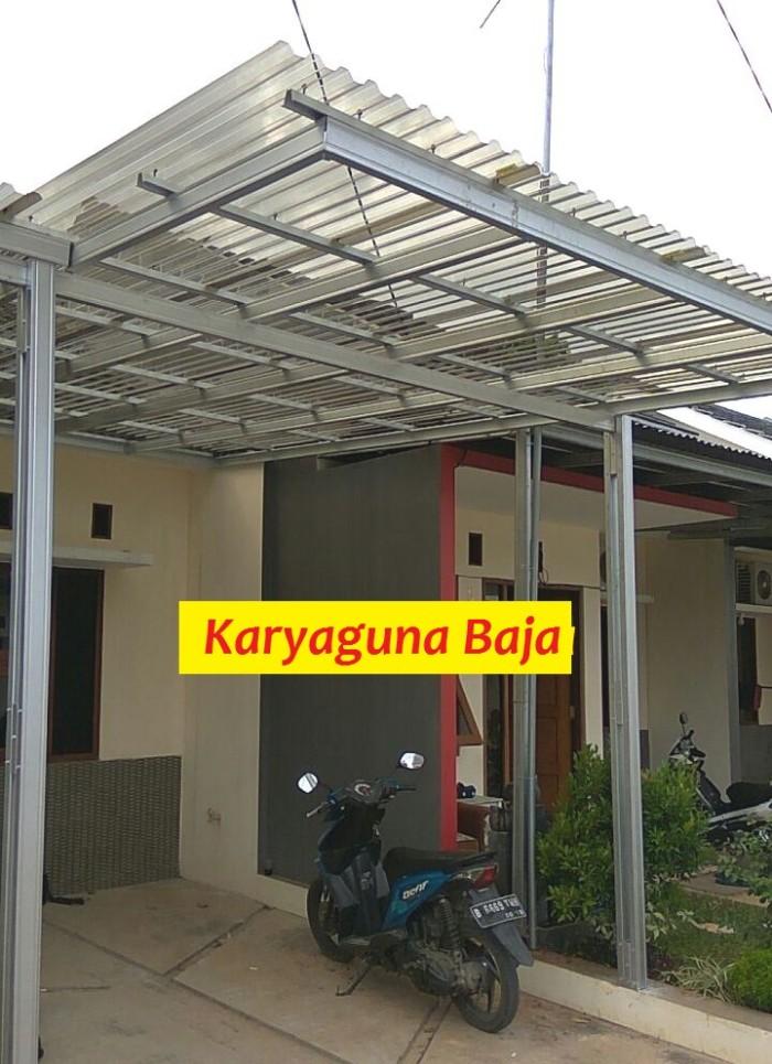 rangka atap baja ringan untuk teras jual canopy solartuff paket standar cat hitam