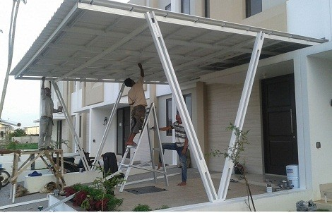 kanopi baja ringan tiang double jual canopy alderon model v cat
