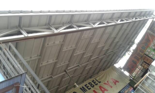 pasang canopy baja ringan depok jual kanopi sekat motif atap spandek kota