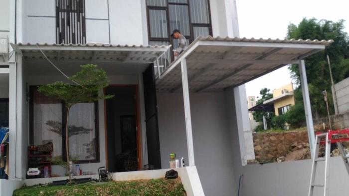 kanopi baja ringan tiang miring jual atap alderon minimalis double cat