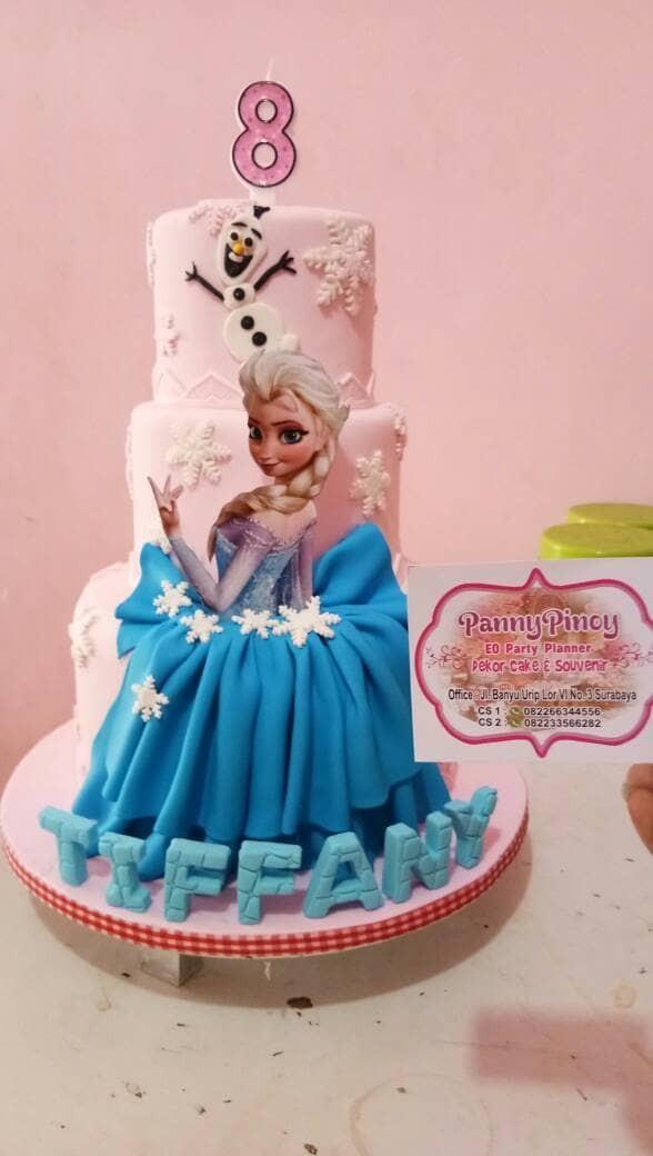 Jual Birthday Cake 2 Spikoe Foundant Tema Frozen Elsa 3 Tingkat