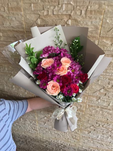 Jual Hand Bouquet Buket Bunga Segar Mawar Campur Krisan