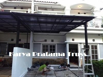 harga kanopi baja ringan atap polycarbonate jual canopy plus cat