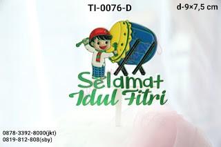 Jual Ti 0076 D Cake Topper Hiasan Tulisan Selamat Idul Fitri Bedug