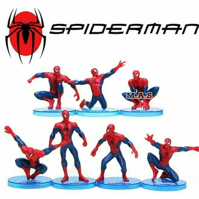 Jual Spiderman Action Figure Set Super Hero Mainan Cake Topper
