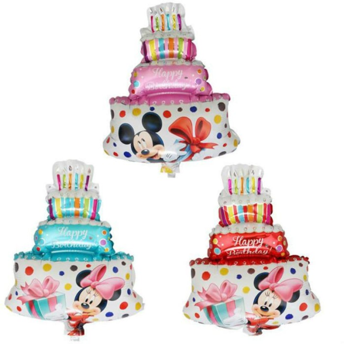 Jual Balon Foil Happy Birthday Mickey Minnie Mouse Mini Cake Balon