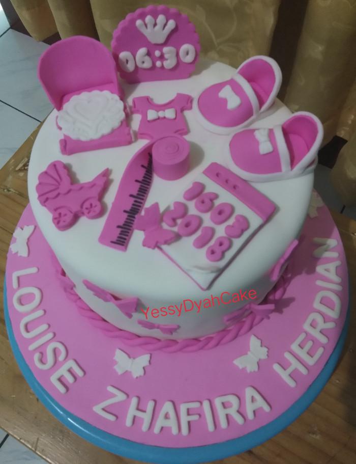 Jual Cake Birthday Ultah Cake Baby Girl New Born Fondant Kota