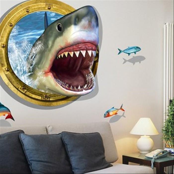 Jual Stiker Dinding Gambar Ikan Hiu 3D untuk Dekorasi Kamar Tidur ...