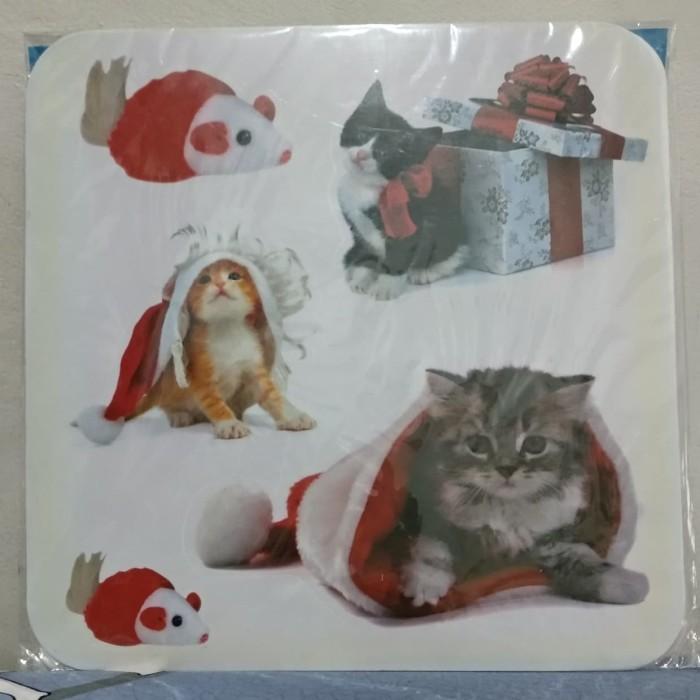 Jual Stiker Besar Christmas Cat 31x31 Cm Jakarta Utara Miracless Tokopedia