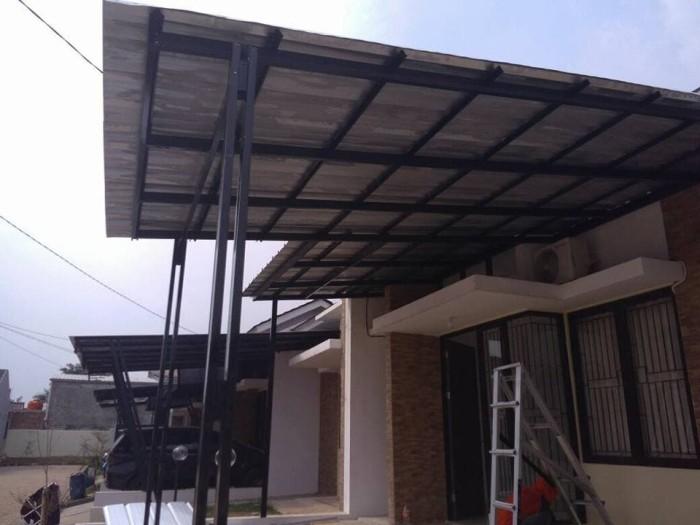 pasang canopy baja ringan depok jual pemasangan kanopi atap spandek model super elegan