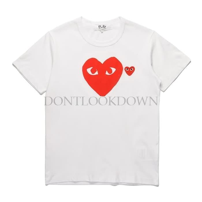 Jual Kaos Cdg Play Black Edge Heart Emoji White Red Mirror