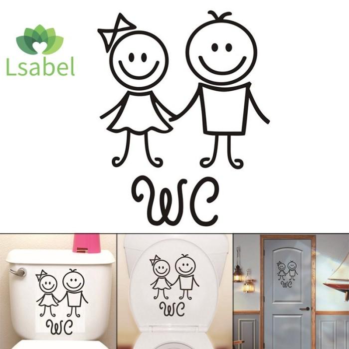 Jual Toilet Sticker Bathroom Wall Art Decal Funny Cartoon Sticker Home Kab Bogor Hioza Tokopedia