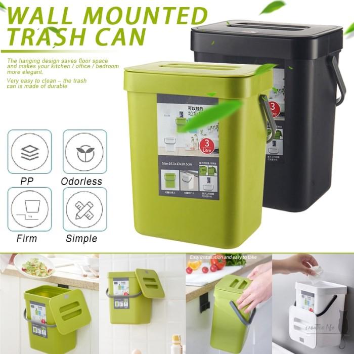 Jual Kitchen Hanging Type Trash Can Home Bedroom Bathroom Wall Mounted Jakarta Selatan Valdito Tokopedia