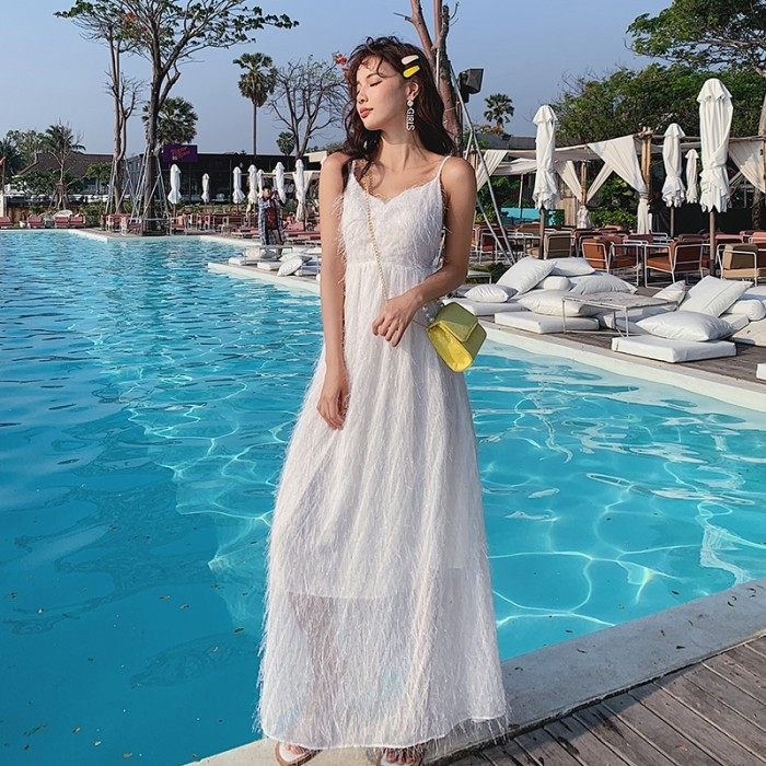 Jual New Fashion Korean Vacation Beach White Dress V Neck Female Retro Kota Bandung Arfantok Tokopedia
