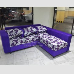Sofa Bed Lipat Murah Di Surabaya Cb2 Leather Jual L Minimalis Motif Ungu Gilang Furniture