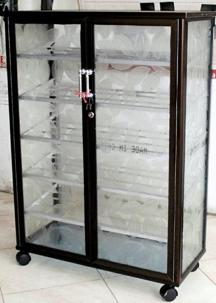 Jual Rak Sepatu Aluminium Frame Coklat Kaca Es 5 Susun Roda 3bcf880d84