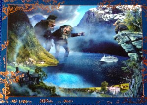 Postcard of illustrated giant trolls in a fjord with a cruise ship