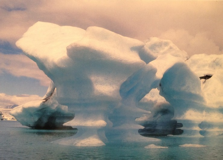 Postcard of strange icebergs in Jokulsarlon