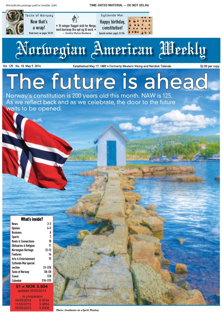 Cover of the Norwegian American Weekly from May 9, 2014