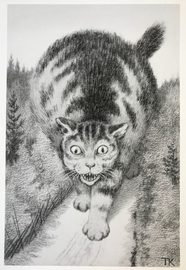 Image of a cat drawn by Theodor Kittelsen