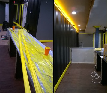 Picture molding, new barrier wall, lights