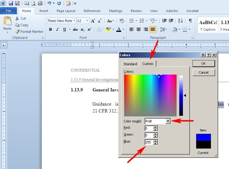 Indexed color and text