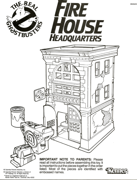 Kenner The Real Ghostbusters Original Instructions