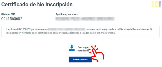 certificado no inscripcion sri