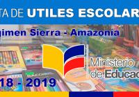 lista utiles escolares sierra amazonia