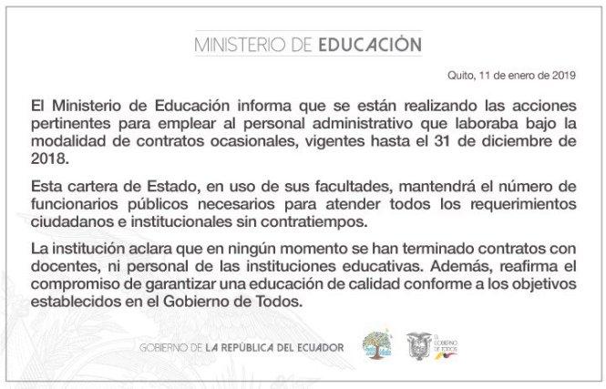 comunicado ministerio de educacion personal administrativo