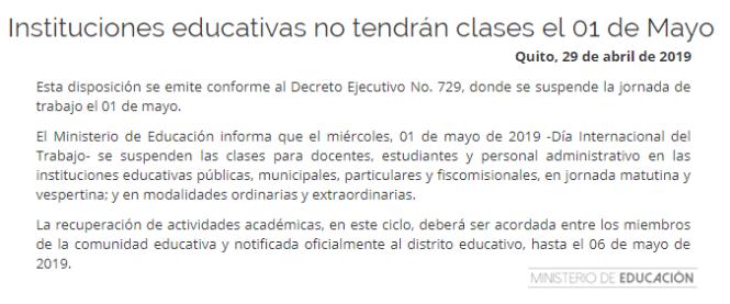 suspension de actividades educativas para las escuelas publicas y privadas por el primero de mayo