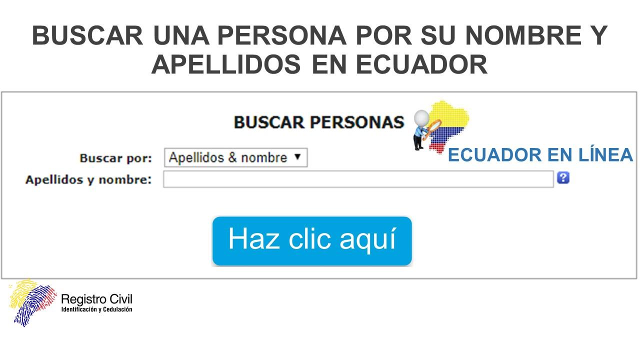 Buscar una Persona por su Nombre y Apellidos en ECUADOR