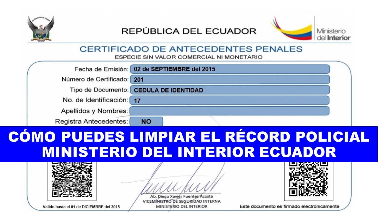 Cómo limpiar el récord policial Ecuador