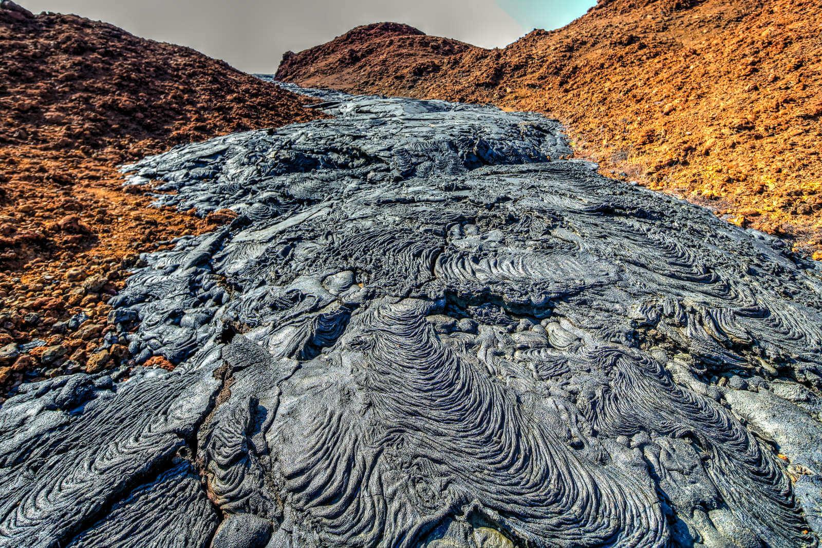 Flujo de lava en la Bahía Sullivan.