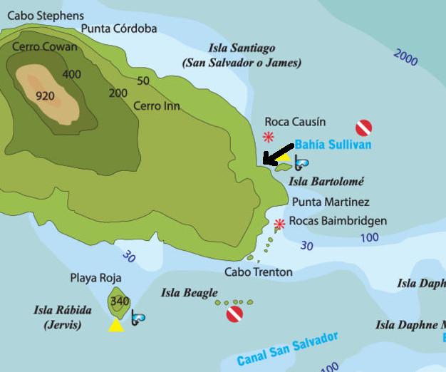 Bahía Sullivan en el mapa de Galápagos.