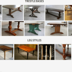 Kitchen Table Legs Prep Tables Most Popular Dining Leg Styles Ecustomfinishes And Trestle Bases