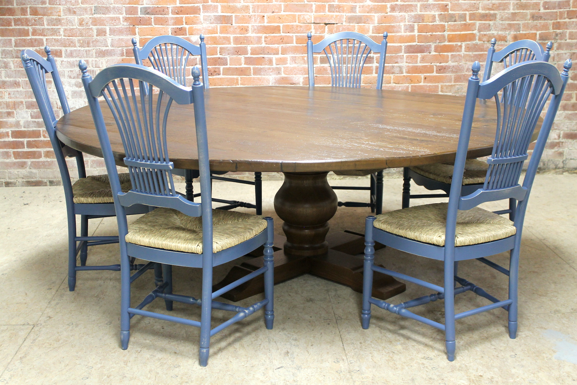 Farm Chairs 84 Quot Round Oak Farm Table Ecustomfinishes