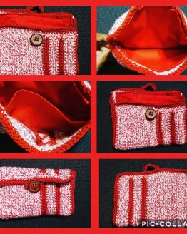 red and white multicolored wallet