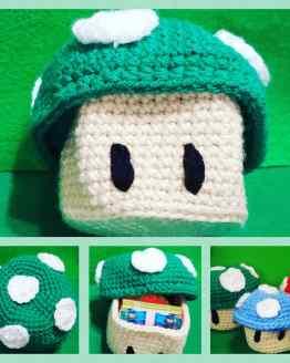 Crocheted green mushroom